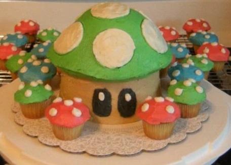 Super Mario Mushroom Giant Cupcake