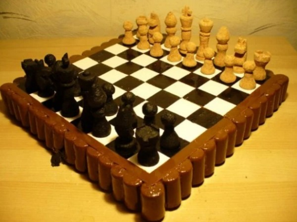 Chess set made from old corks