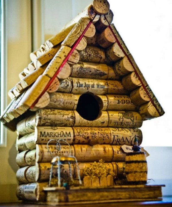 Birdhouse made from old wine Corks