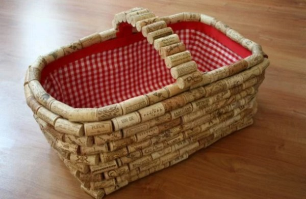 Basket made with Recycled Corks