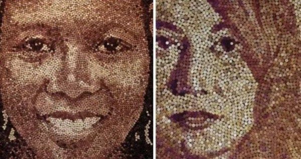 Portraits made with corks