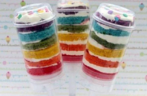 Rainbow cake push-ups