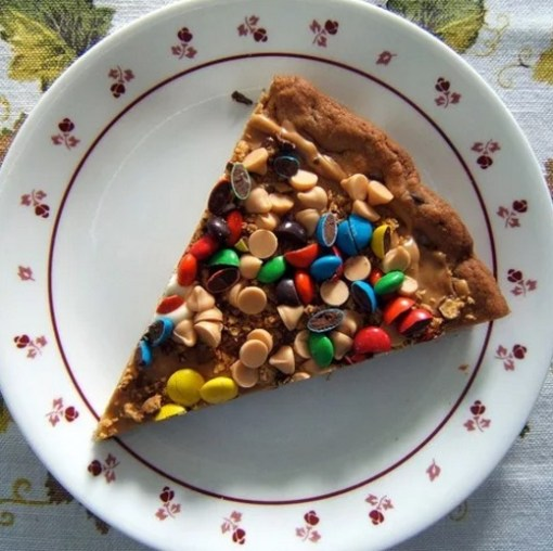 Smarties and Cookie Dough Dessert Pizza