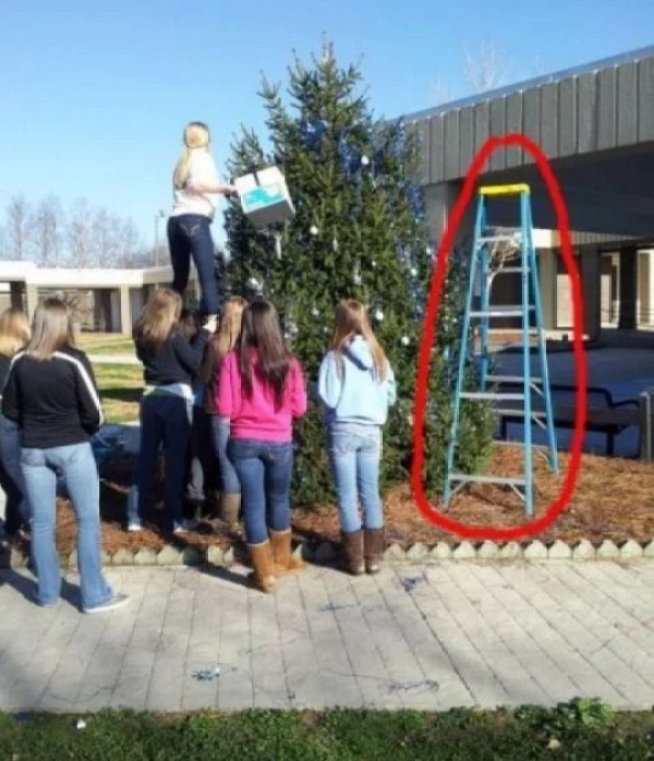 Who needs ladders when you have Cheerleaders