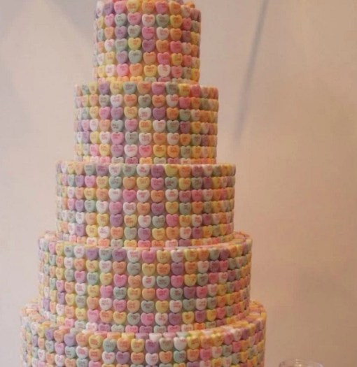 Love Heart covered wedding cake