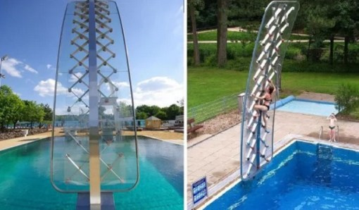 AquaClimbs, poolside adventure climbing