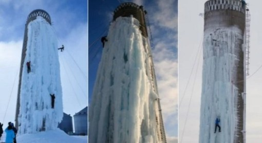 Grain silo in Iowa converted to Ice Climbing wall