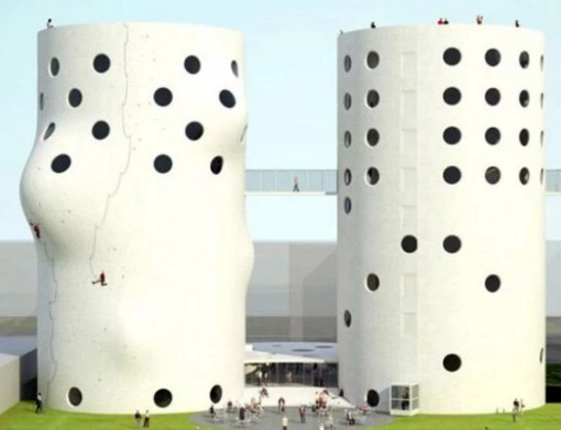 Abandoned Silos Transformed Into a Climbing Wall