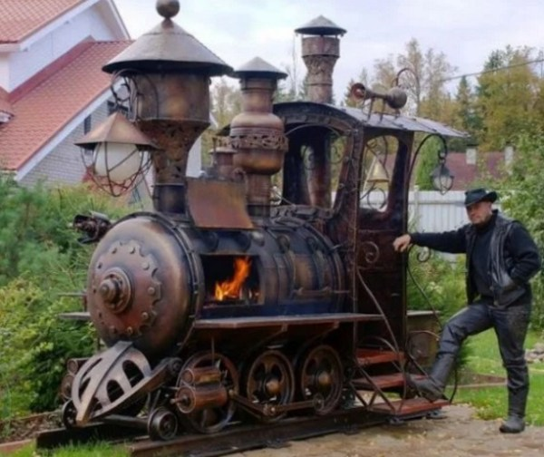 Steam Train Inspired BBQ Grill