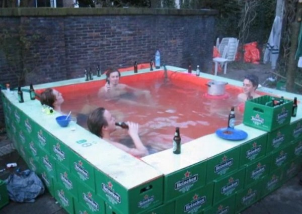 Swimming Pool Made With Water Proof Sheets and Beer Crates