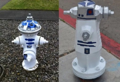 Art attacked fire hydrant: R2-D2 theme