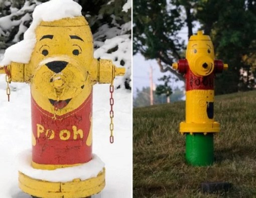 Art attacked fire hydrant: Winnie the pooh theme