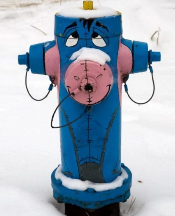 Art attacked fire hydrant: Eeyore theme