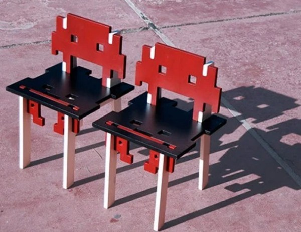 Space Invaders inspired wooden painted chair