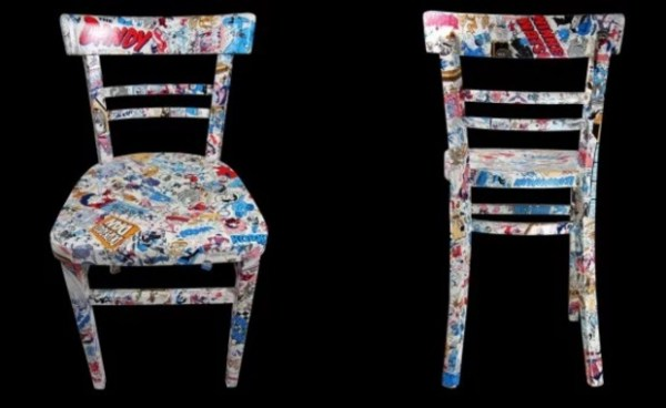 Comic inspired wooden painted chair