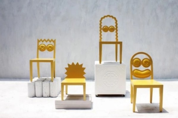 Simpsons inspired wooden painted chair