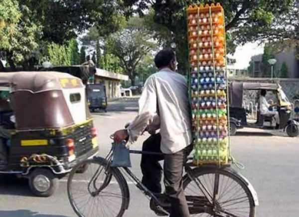 Bicycle Overloaded With Eggs