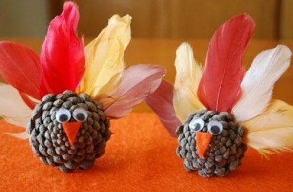Pine Cones Turned into Turkeys