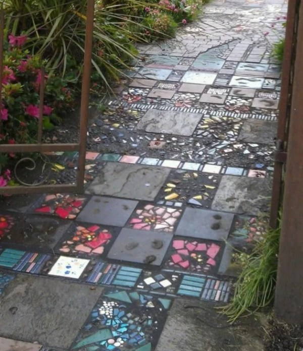 Garden path made of broken tiles