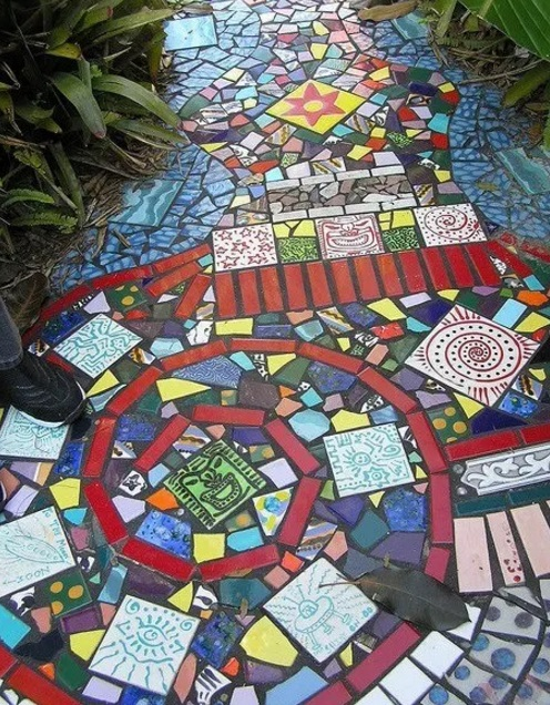Garden path made of mosaic tiles