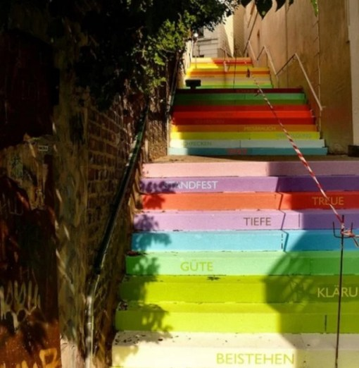 Multicoloured artwork on stairs
