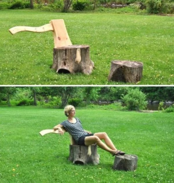 Axe Lounge Chair and stump