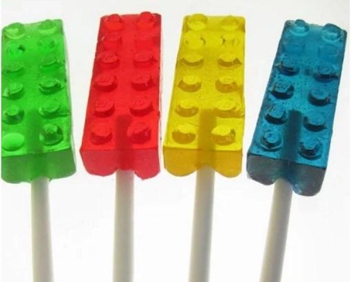 Lego themed lollipops