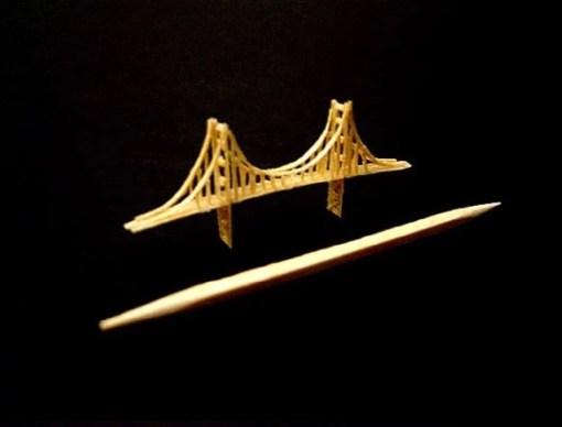 Golden Gate Bridge Toothpick Sculpture by Steven Backman