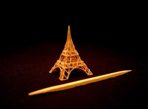 Eiffel Tower Toothpick Sculpture by Steven Backman