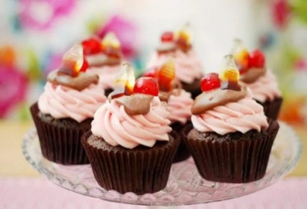 Cherry Coke Soft Drink Cupcakes