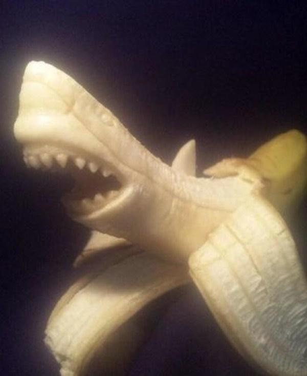 Photoshopped Banana Made to Look Like a Shark