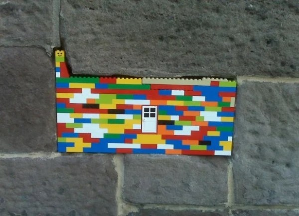 Hole in wall filled with Lego