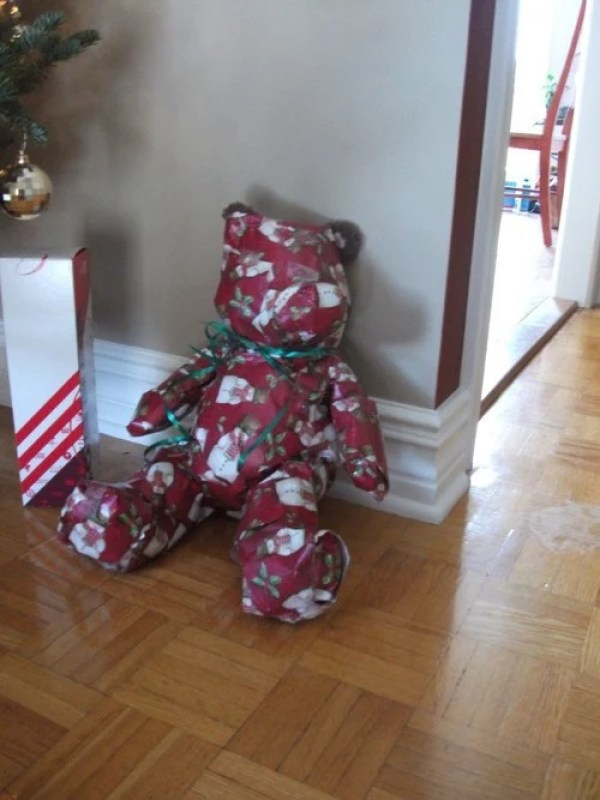Gift Wrapped Teddy Bear