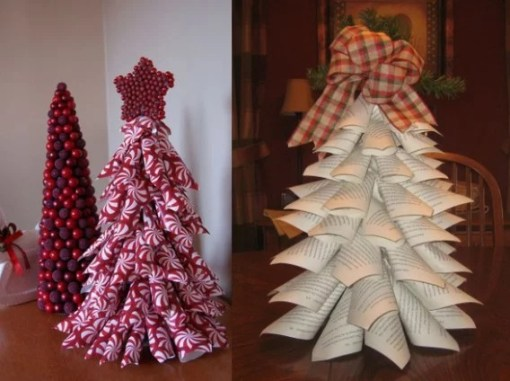 Paper Cone Christmas Tree Made with used wrapping paper