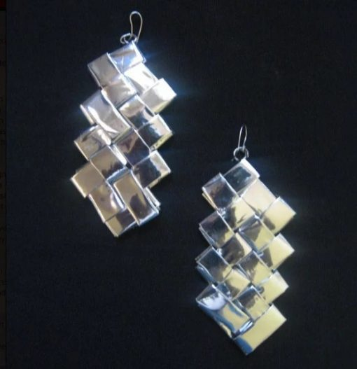Earrings Made with used wrapping paper