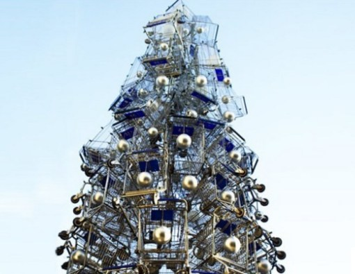 Anthony Schmitt Christmas Tree Made From Shopping Carts