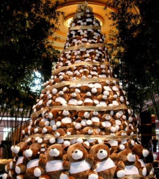 Various Artist Christmas Tree Made From Teddy Bears