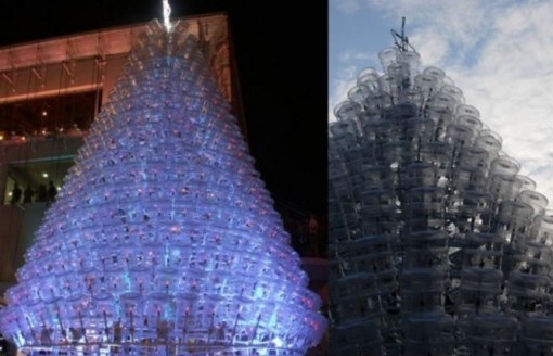 Various Artist Christmas Tree Made From Plastic Water Bottles