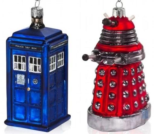 TARDIS and Dalek Inspired Christmas Tree Baubles