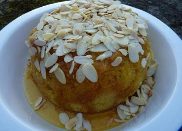 Cardamom and almond steamed pudding