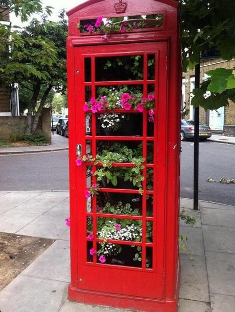 Red Telephone Box / Phone Booth turned into Flower Display