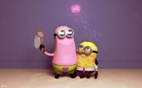 Minions Redesigned as SpongeBob and Patrick