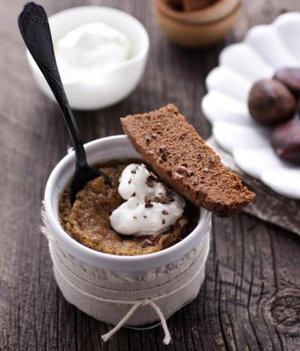 Chestnut Flan with Double Chocolate and Crystalized Ginger Biscotti