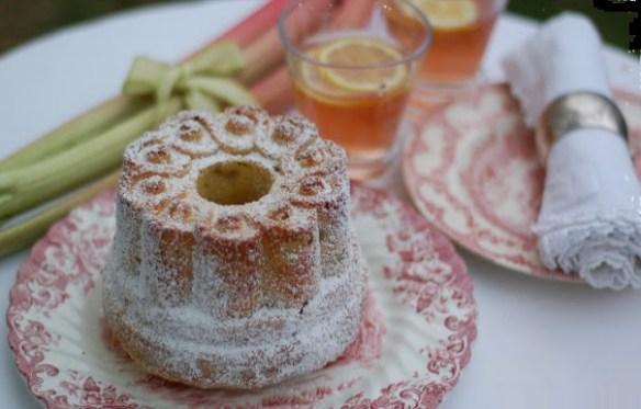 rhubarb cordial and rhubarb almond bundt