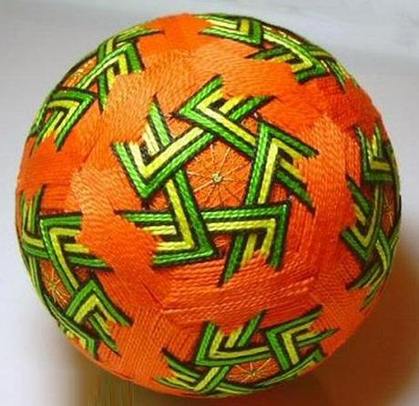 Orange and Green Zig Zag Temari Ball