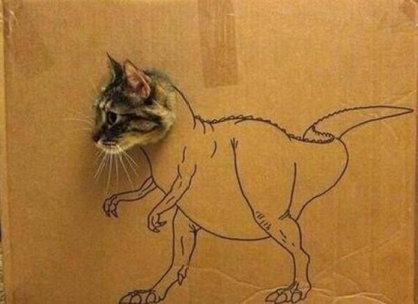 Cat art in the style of a dinosaur