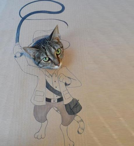 Cat art in the style of a Indiana Jones