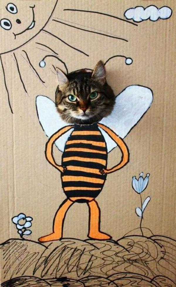 Cat art in the style of a bee
