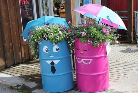 liquid drums turned into garden characters