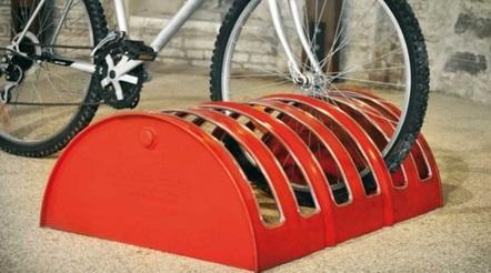 liquid drums turned into a bike rack